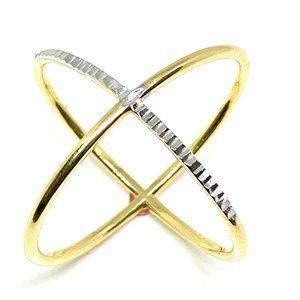 14K DIAMOND-CUT CRISS CROSS GOLD RING 7''